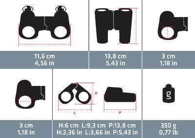 משקפת טיולים B900 מתכווננת למבוגרים המגדילה פי 12- שחור