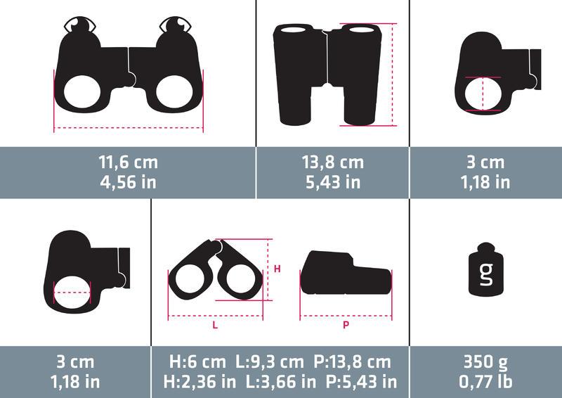 Prismáticos de senderismo adulto con ajuste MH B 560 aumento x12 negros