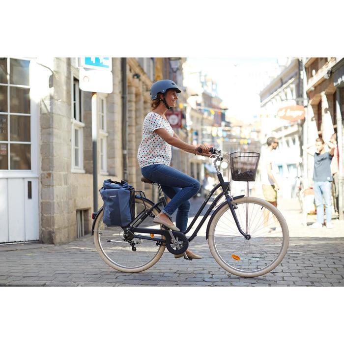 Stadsfiets Elops 520 laag frame blauw - Damesfiets met transportrek en mand