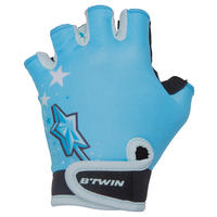 Kids' Fingerless Cycling Gloves - Princess/Blue