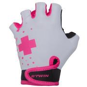Bele in rožnate kolesarske rokavice DOCTOGIRL za otroke