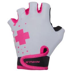 Fietshandschoenen voor kinderen Doctogoril wit en roze
