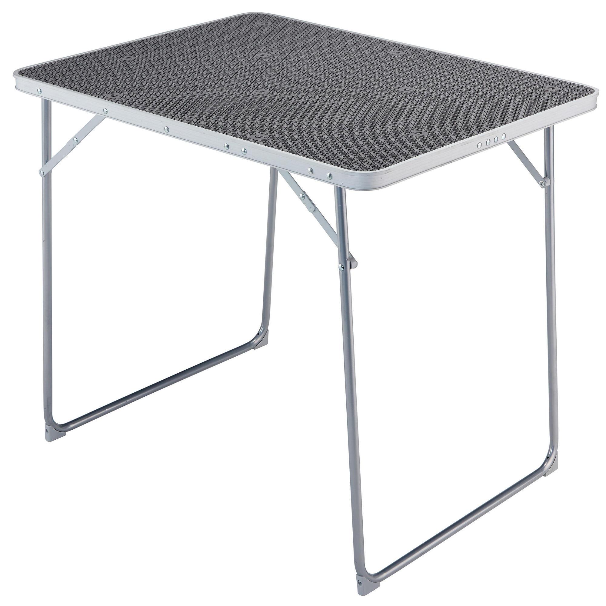 folding camping trekking table 4 persons grey quechua. Black Bedroom Furniture Sets. Home Design Ideas