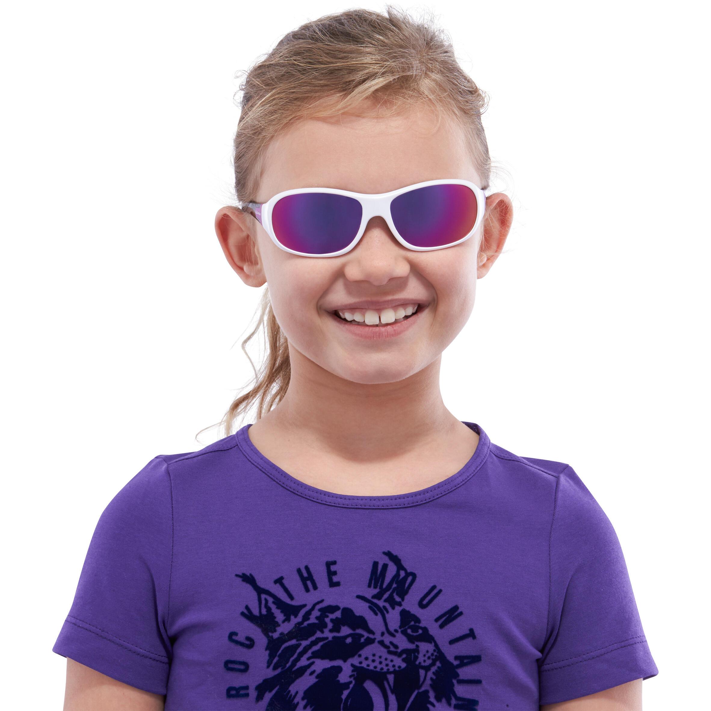 Lunettes de soleil randonnée enfant 8-10 ans MH T500 blanches catégorie 4