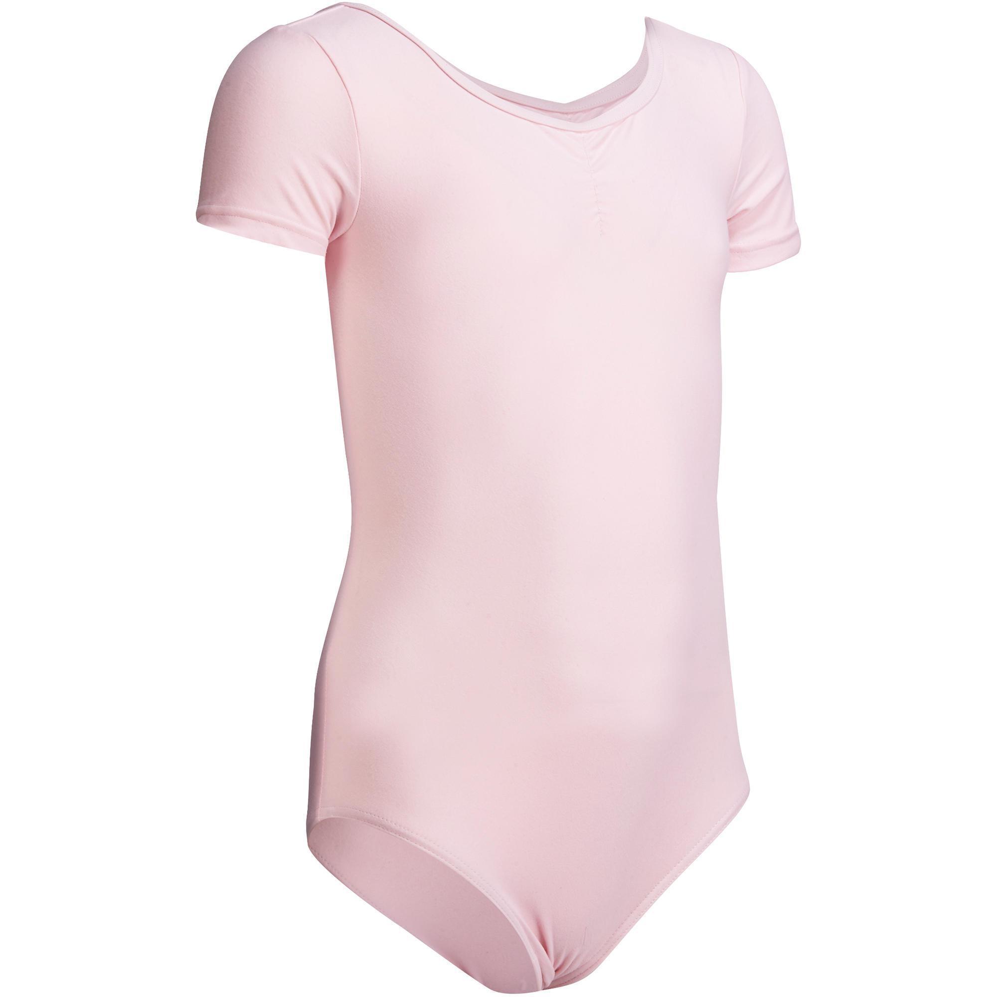 girls shortsleeved ballet leotard light pink domyos