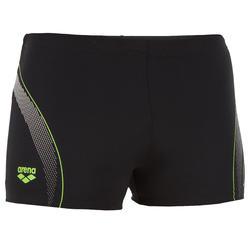 Zwemboxer heren met logo zwart/groen/wit