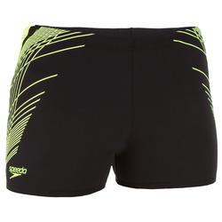 Zwemboxer voor heren zwart/gele print