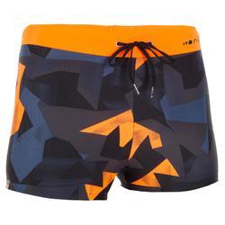 男士四角款游泳短褲 100 PEP - 全黑 橘色
