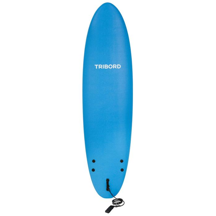 Tabla Surf Espuma Evolutiva Olaian 100 7' Niño Azul Leash Quillas
