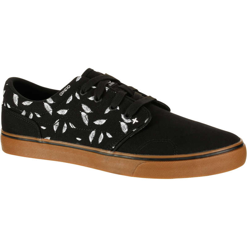 ADULT SKATEBOARD SHOES Skateboarding and Longboarding - Vulca 100 Canvas Black Feather OXELO - Skateboarding and Longboarding