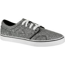 Zapatillas caña baja skateboard-longboard adulto VULCA 100 CANVAS allover gris