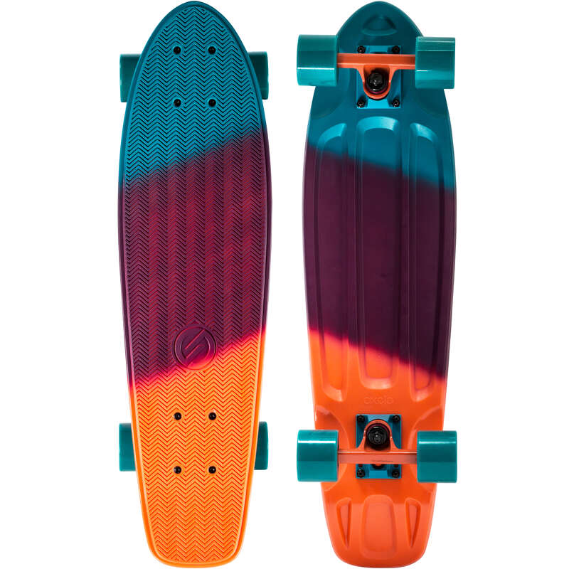 LONGBOARD AND CRUISER Skateboarding and Longboarding - Big Yamba Blue/Coral Gradient OXELO - Skateboarding and Longboarding