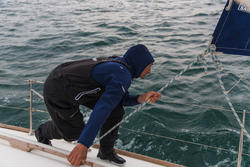 Waterdichte en ademende hoge zeilbroek Ozean 900 voor heren zwart - 112040