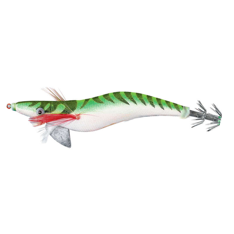 SQUIDS, OCTOPUS LURES - EGI Weighted Green 3.5 12cm FLASHMER