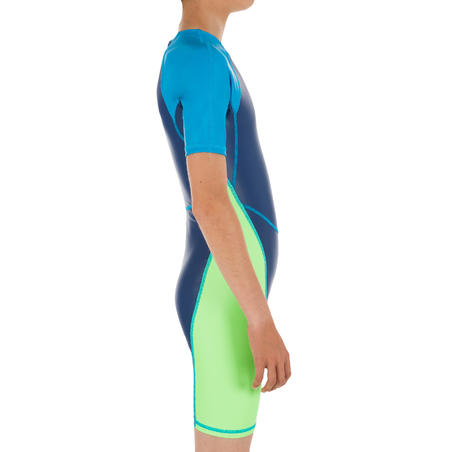 BOYS SWIMMING WETSUIT SHORTY 100 KLOUPI - BLUE/GREEN