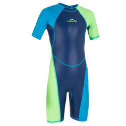 BOYS' SWIMMING SHORTY SUIT KLOUPI 100 - BLUE GREEN