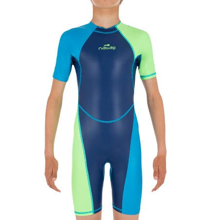 Traje de baño Shorty Natación 100 Kloupi Niño Azul Verde