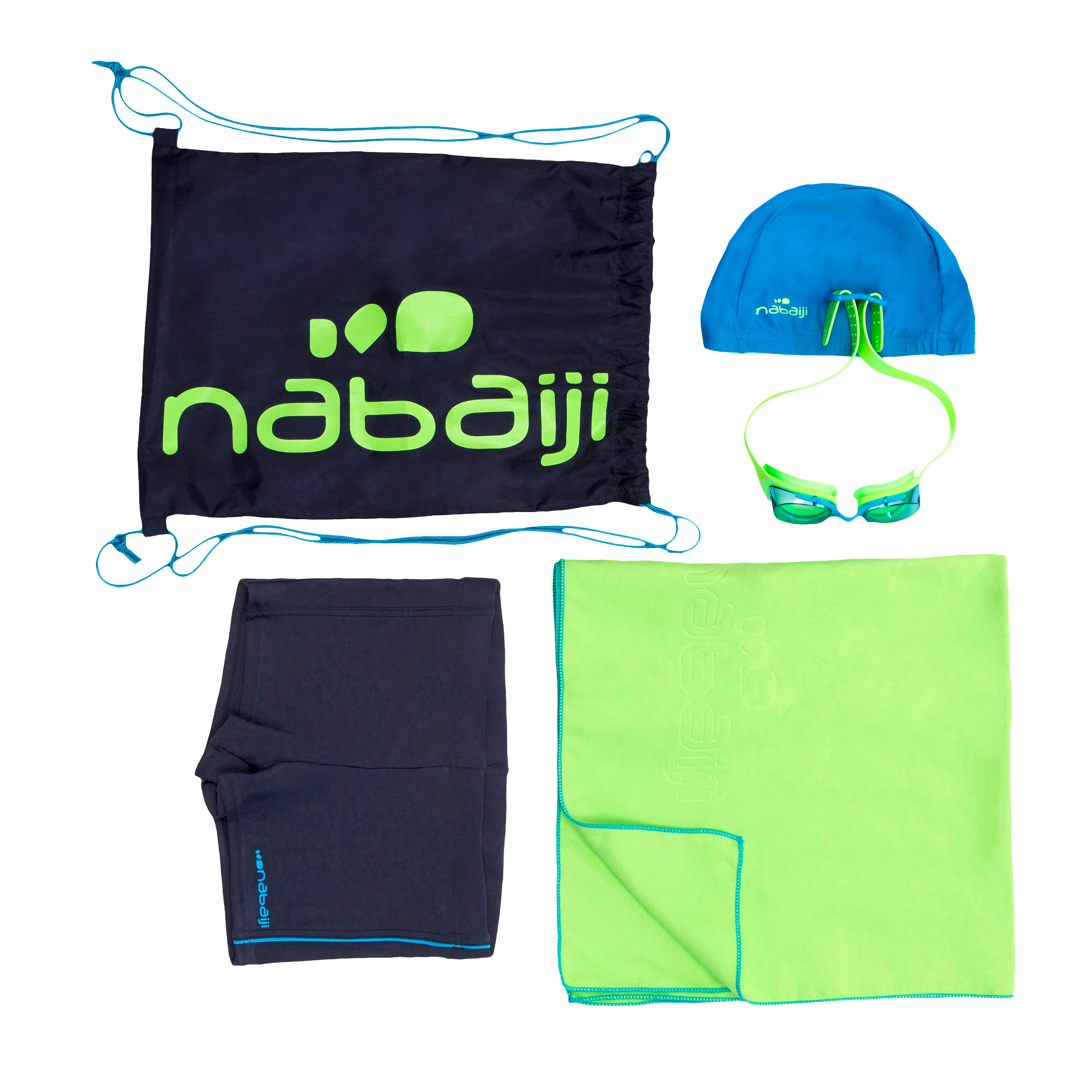 nabaiji maillot de bain lunettes de natation serviette sac pack b active vert decathlon. Black Bedroom Furniture Sets. Home Design Ideas