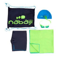 Set met zwemboxer, zwembrilletje, handdoek en tas B-Active+ groen