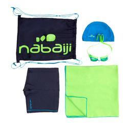 Zwemset B-Active+: zwembroek, zwembril, badmuts, handdoek, tas