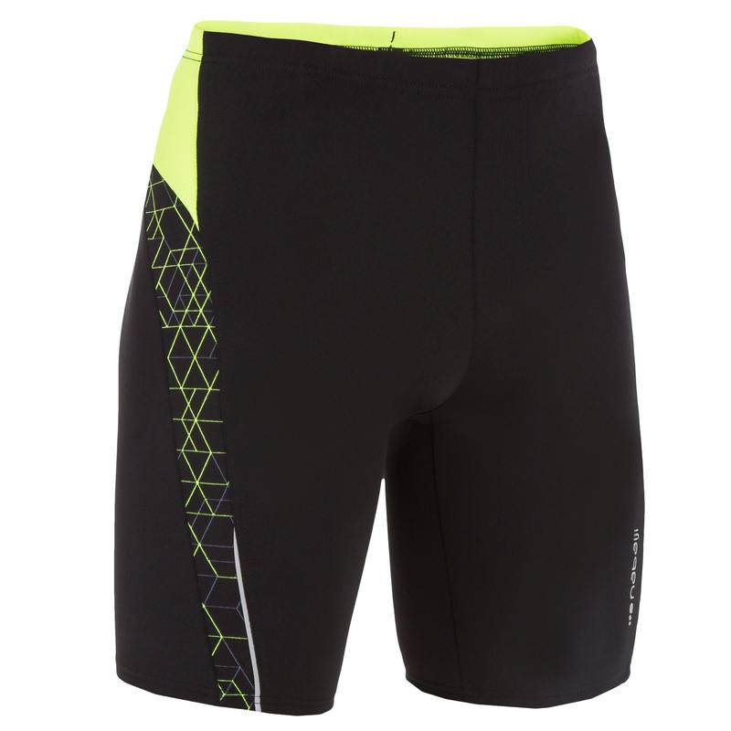 YELLOW BLACK BOYS' HEXA FIRST 500 SWIMMING JAMMERS