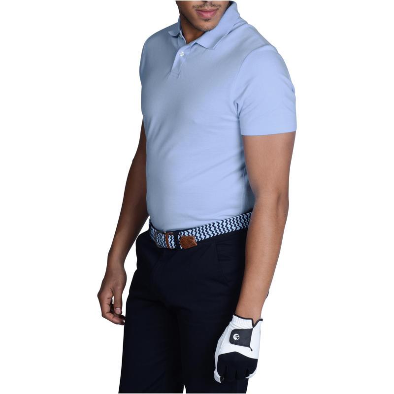 Polera Polo de golf hombre manga corta 100 clima templado azul claro