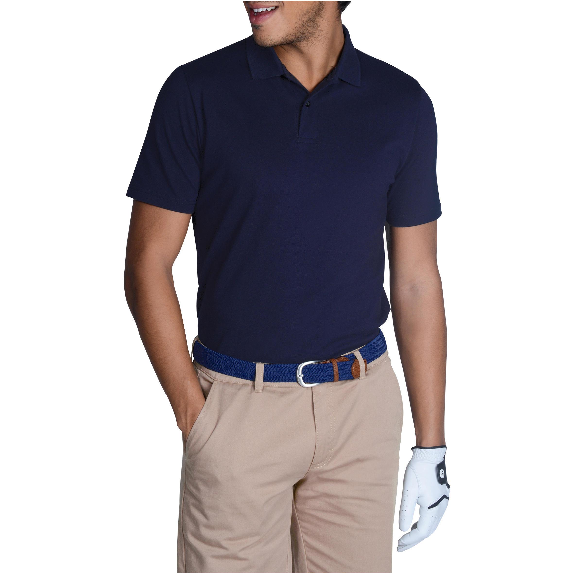 Polo de golf homme manches courtes 500 temps chaud marine