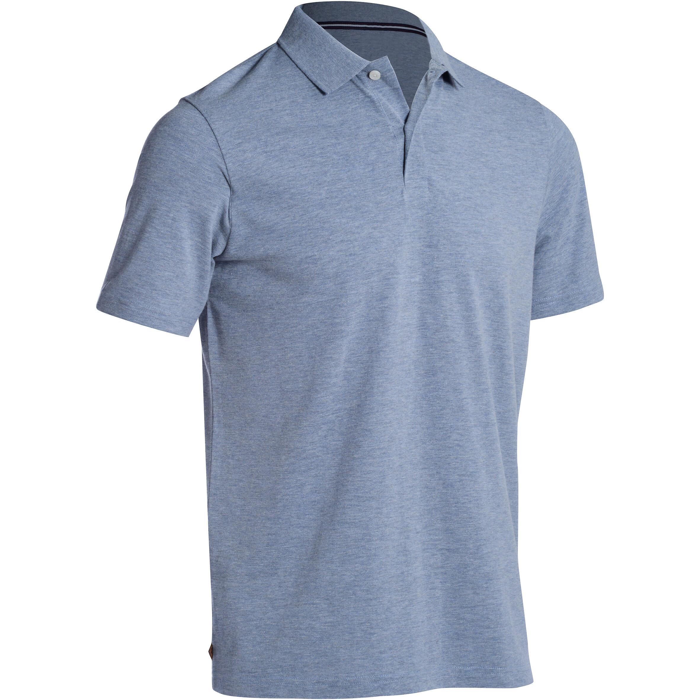Polo de golf hombre manga corta 500 clima caluroso gris moteado