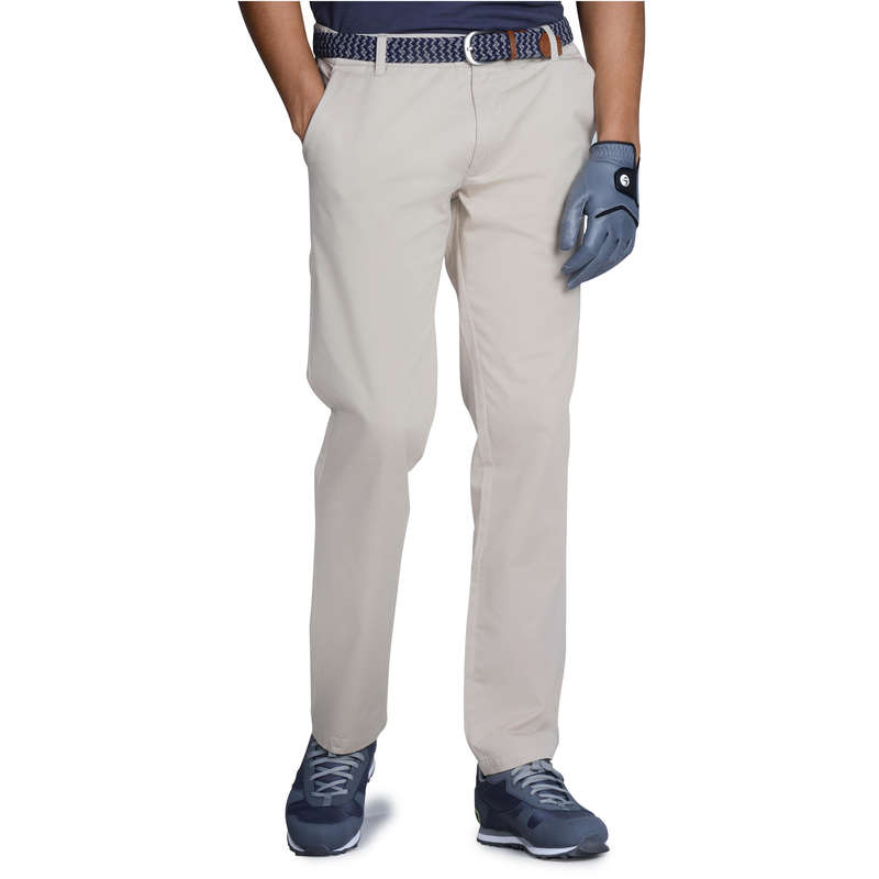 MENS MILD WEATHER GOLF CLOTHING - Men's Golf Trousers 100 Beige INESIS