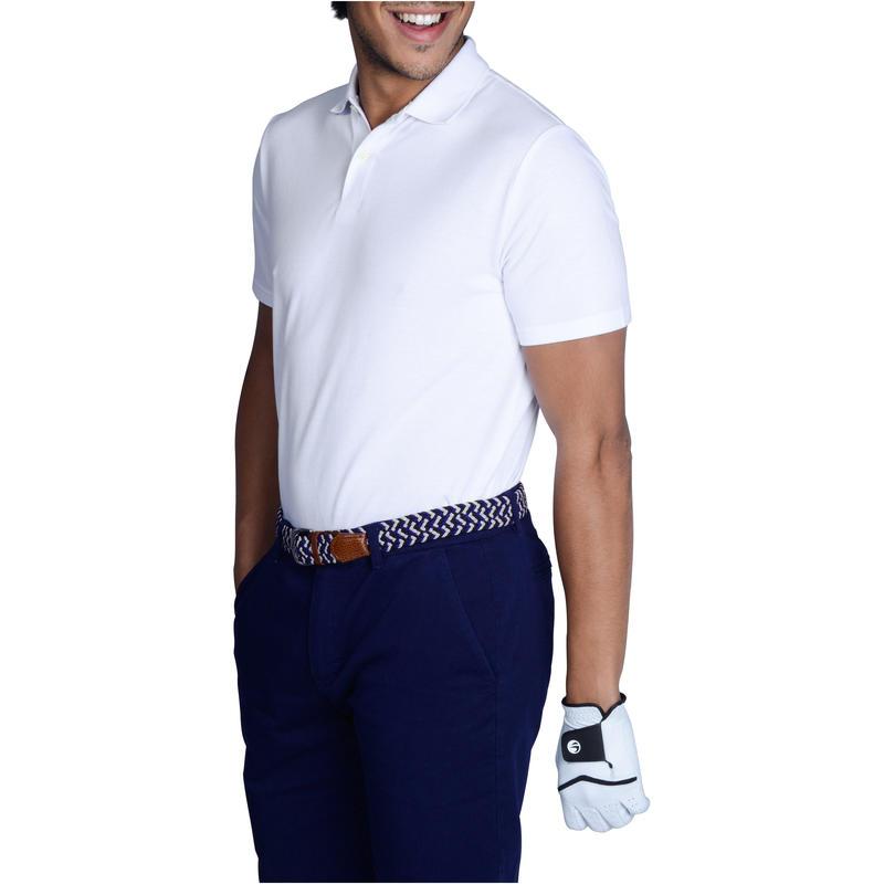 Polera polo de golf hombre manga corta 500 clima caluroso blanca