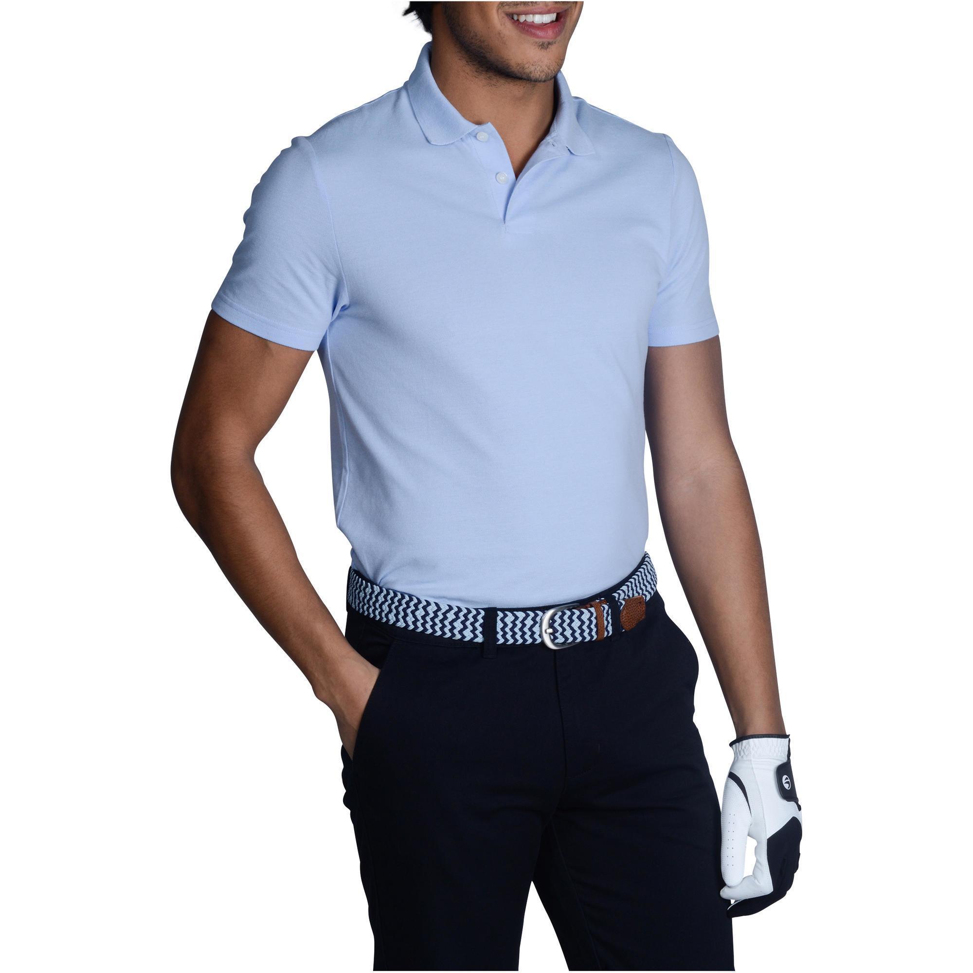 d2d2be17041 Polo de golf hombre manga corta 100 tiempo templado azul claro Inesis |  Decathlon
