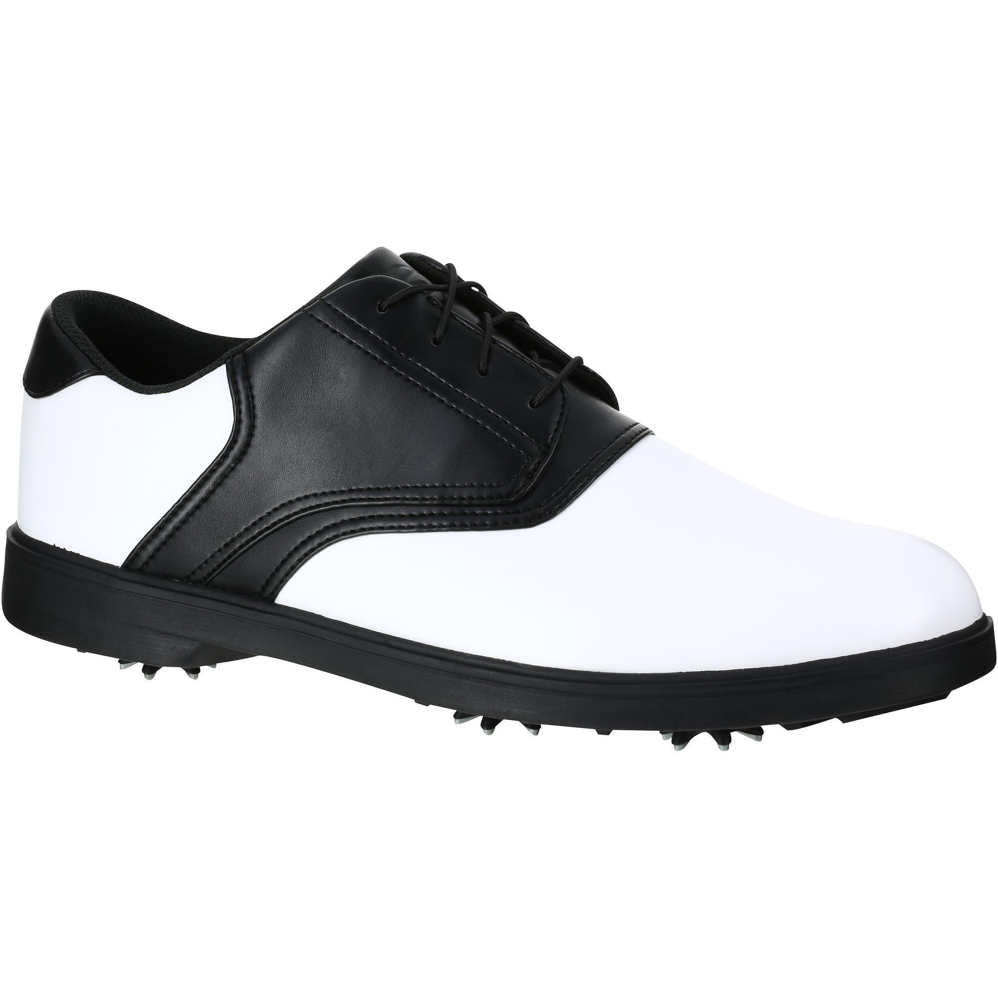 chaussures golf homme spike 500 blanches noires inesis golf. Black Bedroom Furniture Sets. Home Design Ideas