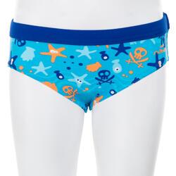 Bañador Bebe Piscina Natación Nabaiji 100 Niño Azul/Naranja Estampado