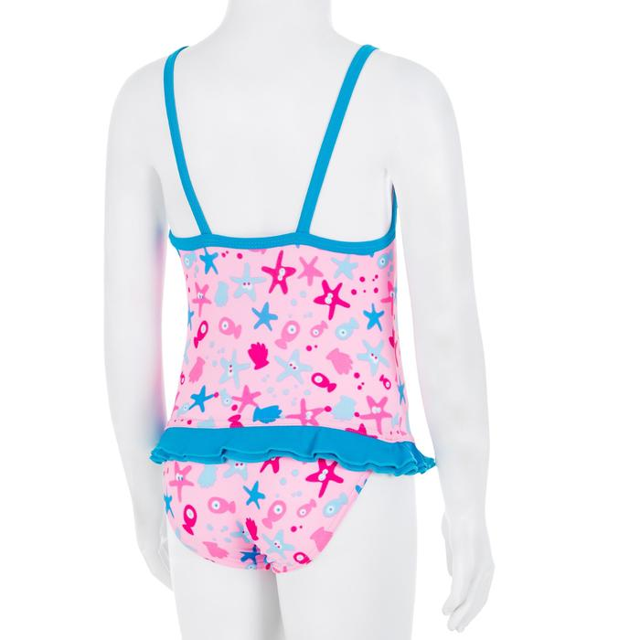 Pink baby girl's one-piece printed swimsuit
