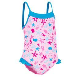 女童一件式粉紅色印花泳裝