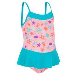 女嬰連身裙印花泳裝