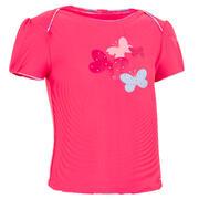 Rožnata plavalna majica s potiskom metuljčkov za malčice