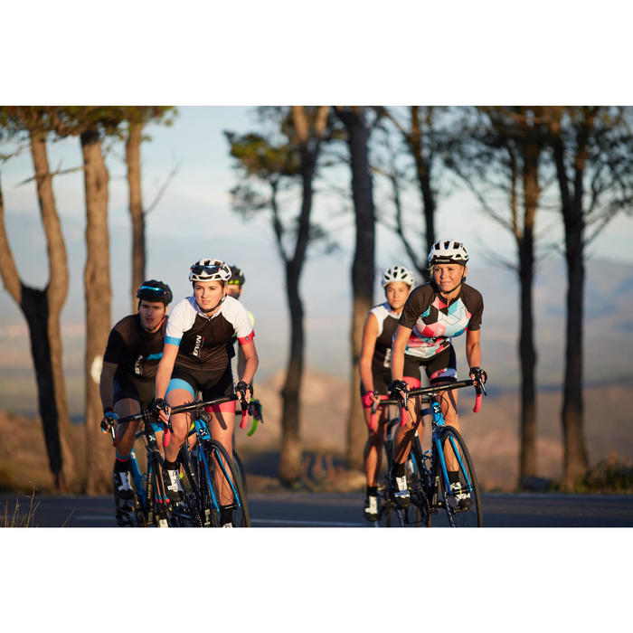Kurzarm-Radtrikot 900 Damen schwarz/blau/pink