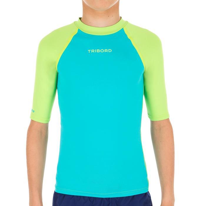 Tee shirt anti UV surf Top 100 manches courtes Enfant bleu vert