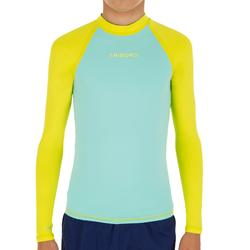 100 Children's Long Sleeve UV Protection Top Surfing T-Shirt - Blue Yellow