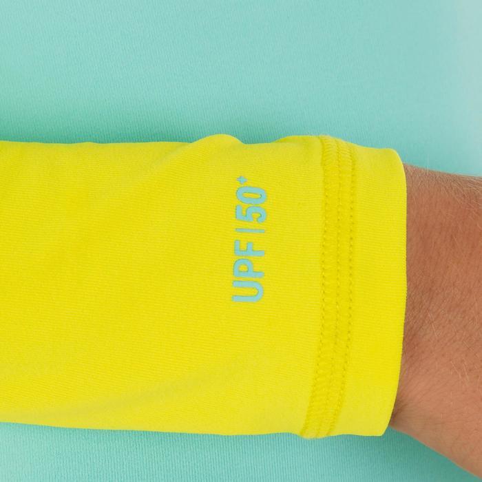 兒童款長袖抗UV衝浪T恤100-藍黃配色