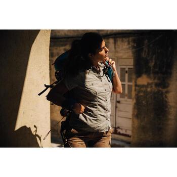 Chemise manches courtes trekking Arpenaz 500 femme beige imprimé - 1123039