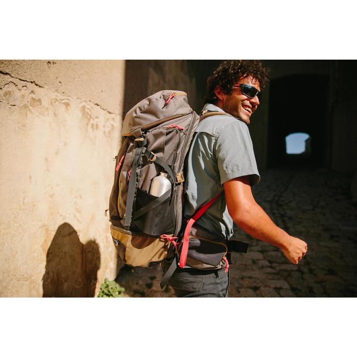 Travel 100 Fresh Men's Short-Sleeved Shirt - Beige Print - 1123095