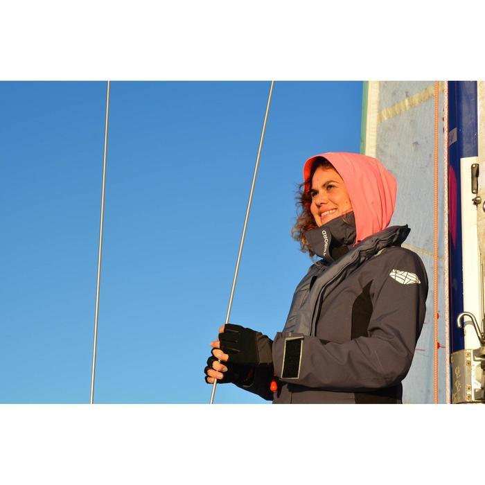Chaqueta Cortaviento Impermeable Barco Vela Tribord 500 Mujer Gris/Rosa Capucha