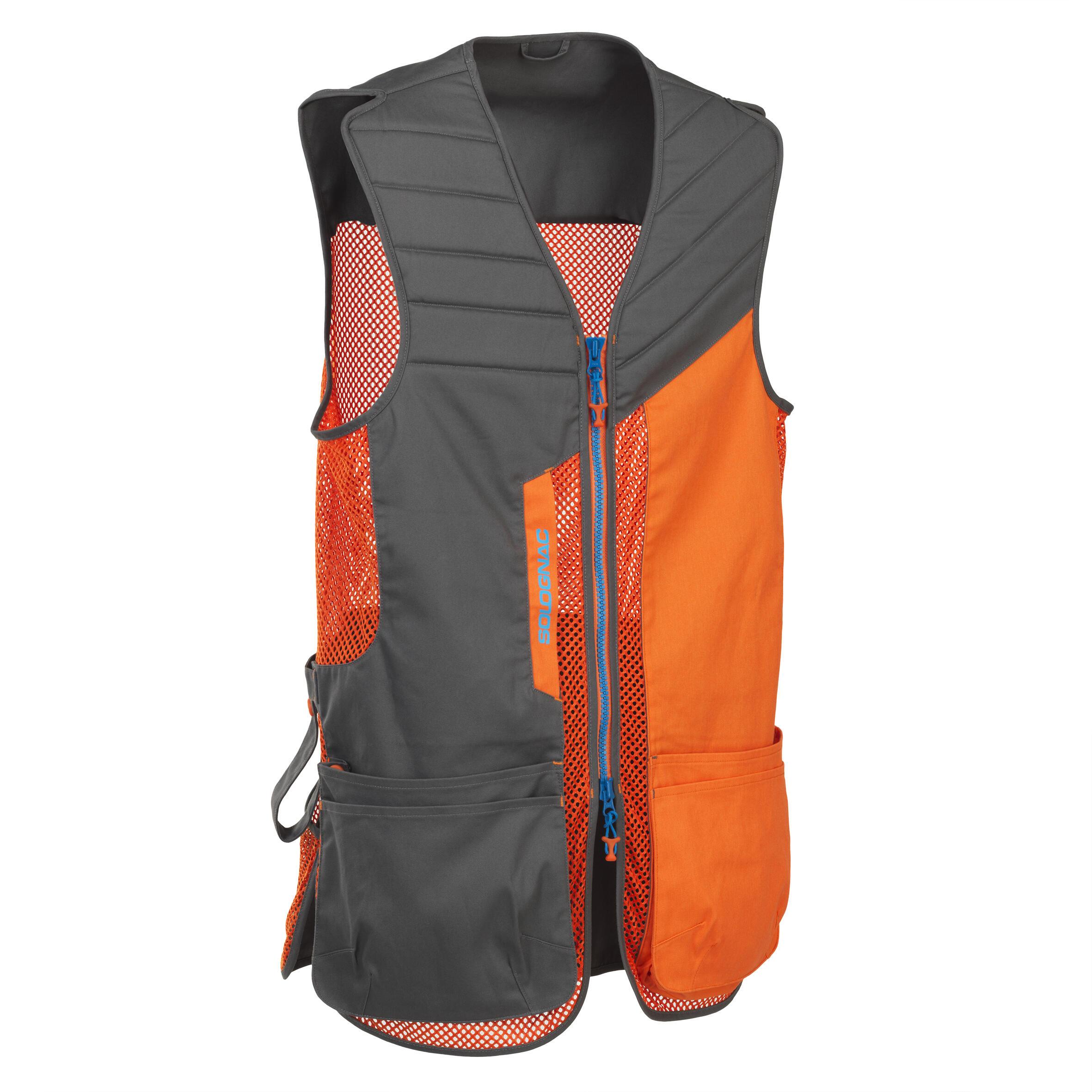 Jagdweste 500 Wurfscheibenschießen orange | Sportbekleidung > Sportwesten > Jagdwesten | Grau - Orange | Solognac