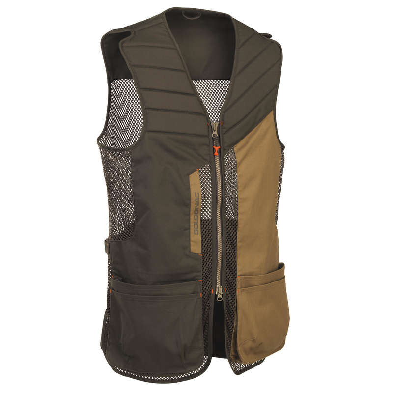 CLAY SHOOTING EQUIPMENT Shooting and Hunting - CLAY PIGEON 500 GILET BROWN SOLOGNAC - Clay Pigeon Shooting
