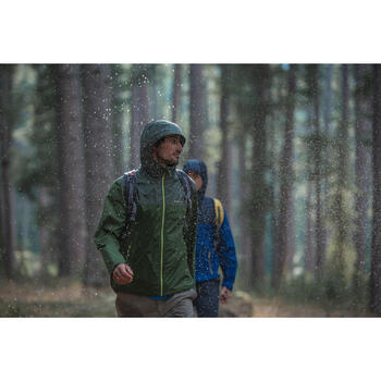 Chaqueta impermeable de senderismo en la naturaleza hombre NH100 marrón azul