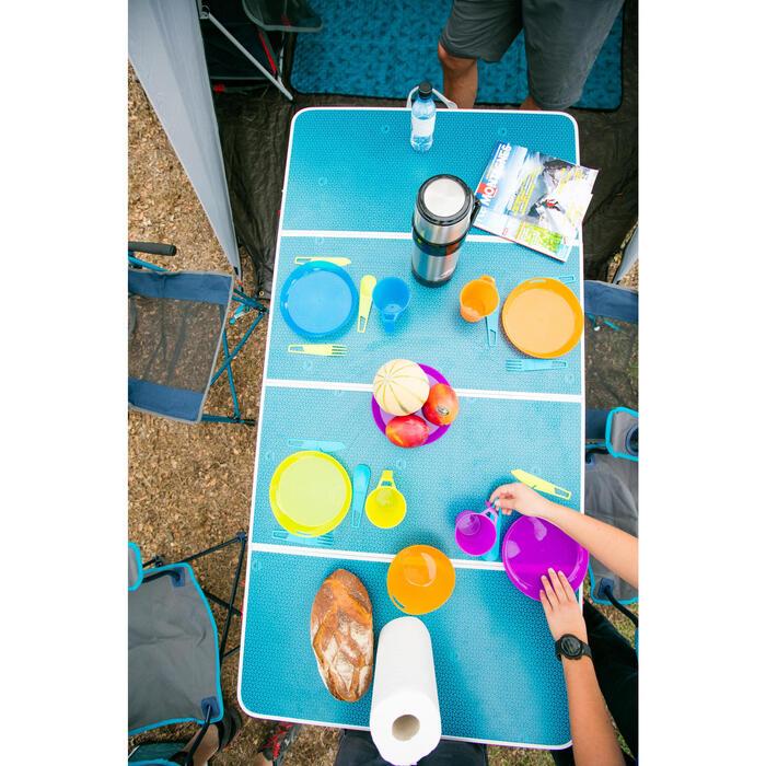 Ustensiles randonnée fourchette anti-rayure bleu