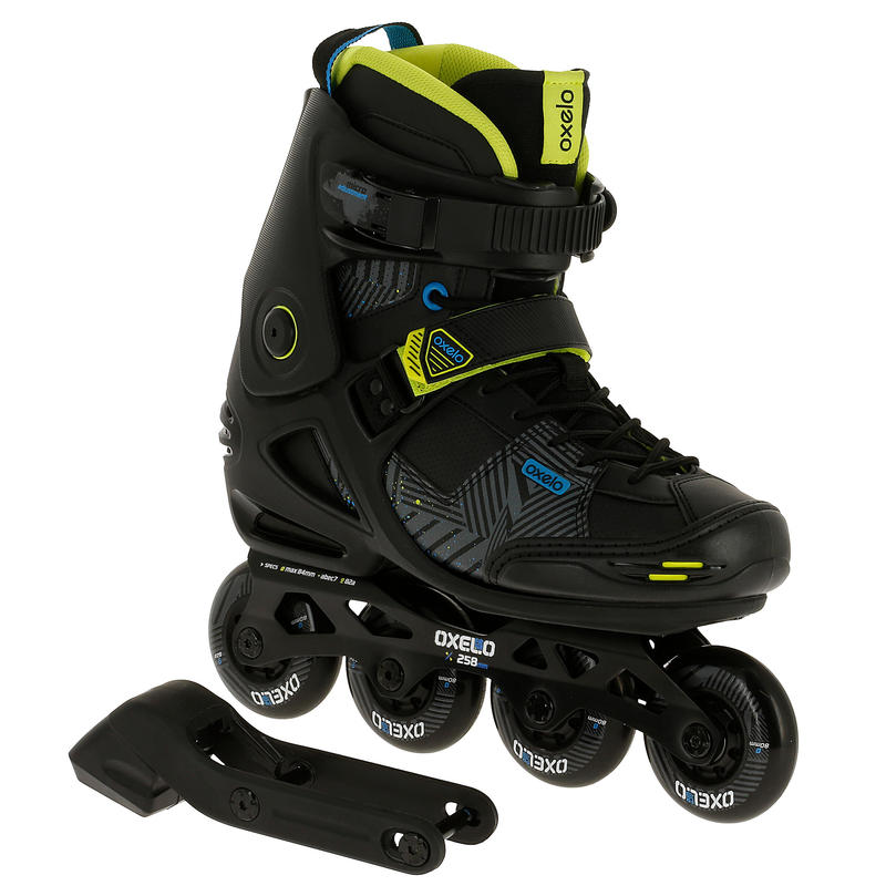 ADULT ROLLER INLINE SKATE FREERIDE 5 SOFTBOOT ACID BLACK