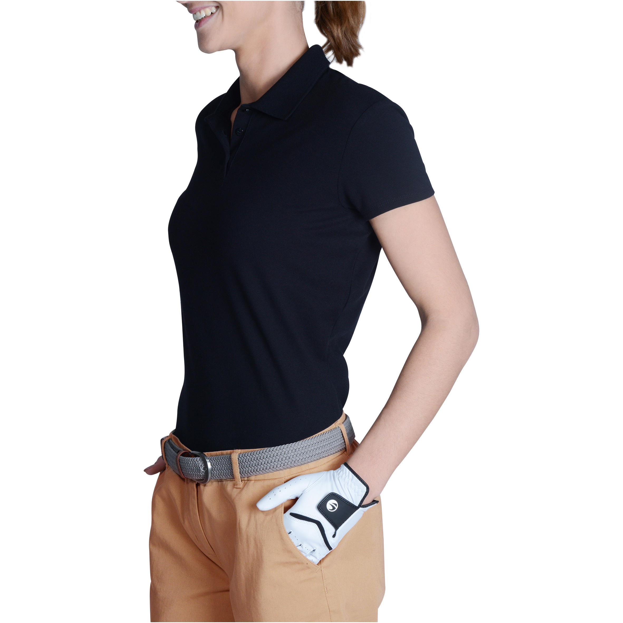 Women's Golf Polo T-Shirt 100 - Black